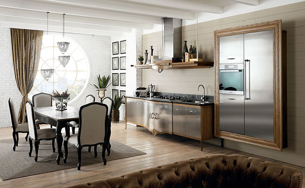 Kuchnia z litego drewna, stali satynowej i marmuru   # Kuchnia Z Marmuru