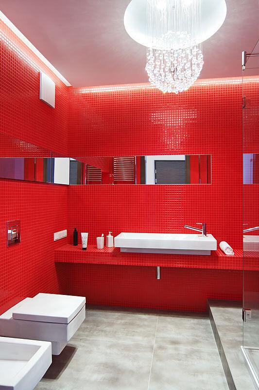 Czerwona mozaika w łazience :: Świat Rezydencji :: Luksusowa strona życia - rezydencje, wnętrza ...